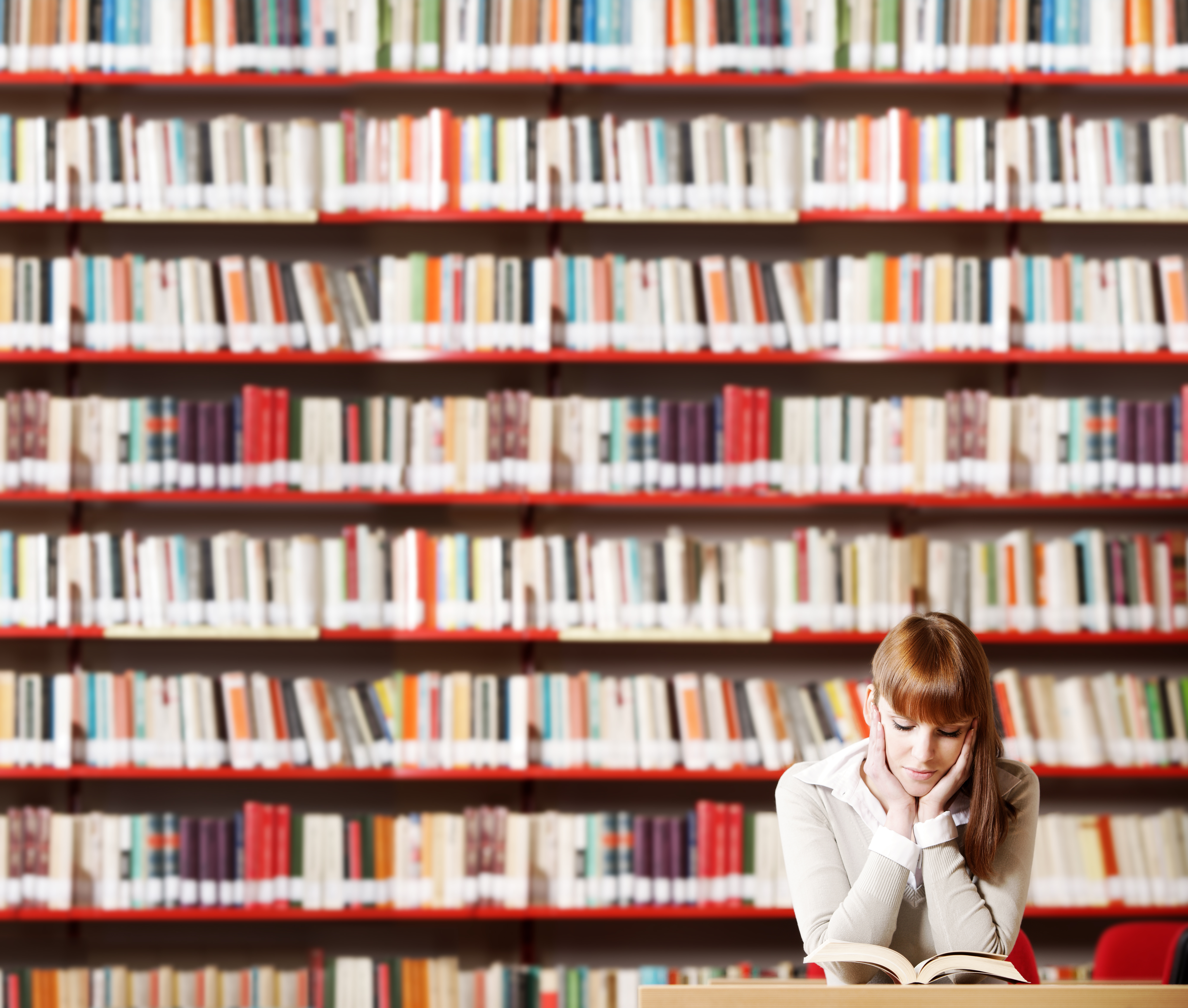 books and a girl readying